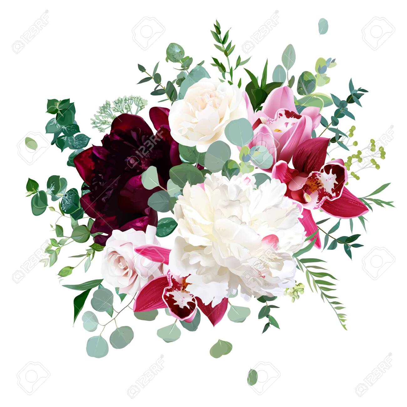 Elegant Floral Vector Bouquet With White And Burgundy Red Peony Royalty Free Cliparts Vectors And Stock Illustration Image 138584267
