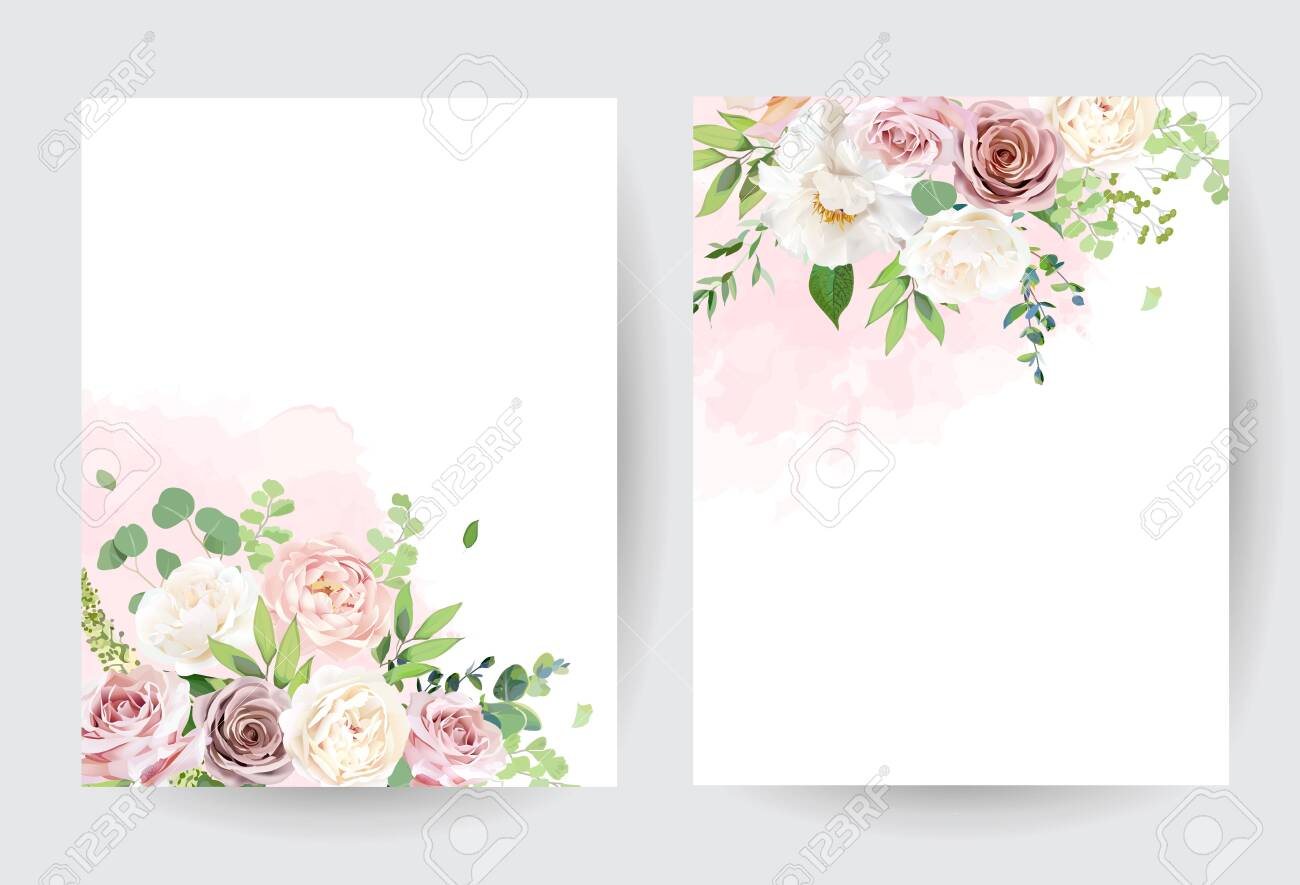 Dusty Pink Blush White And Creamy Rose Flowers Vector Design Royalty Free Cliparts Vectors And Stock Illustration Image 143299880