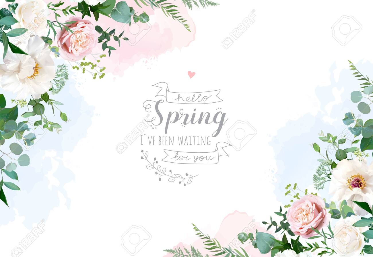 Silver Sage Green And Blush Pink Flowers Vector Design Frame Royalty Free Cliparts Vectors And Stock Illustration Image 146016876