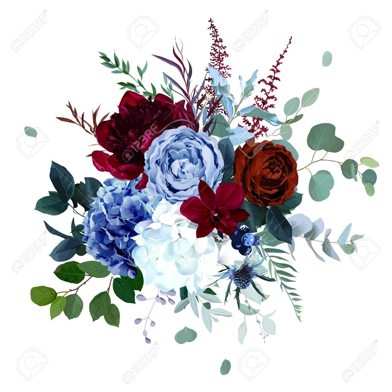 Royal blue, navy garden rose, white hydrangea, burgundy red peony flowers, orchid, anthurium, thistle, eucalyptus, berry vector design wedding bouquet. Floral watercolor style. Isolated and editable - 147050262