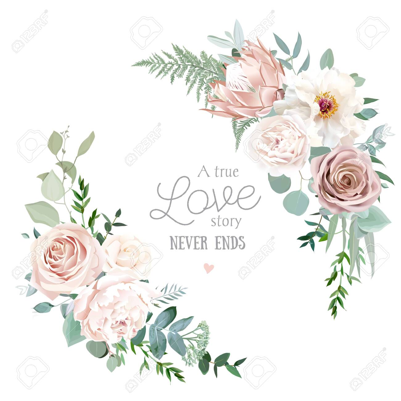 Silver sage and blush pink flowers vector round frame. Creamy beige and dusty rose, white peony, protea, ranunculus, eucalyptus. Wedding floral. Pastel watercolor background. Isolated and editable - 151265832