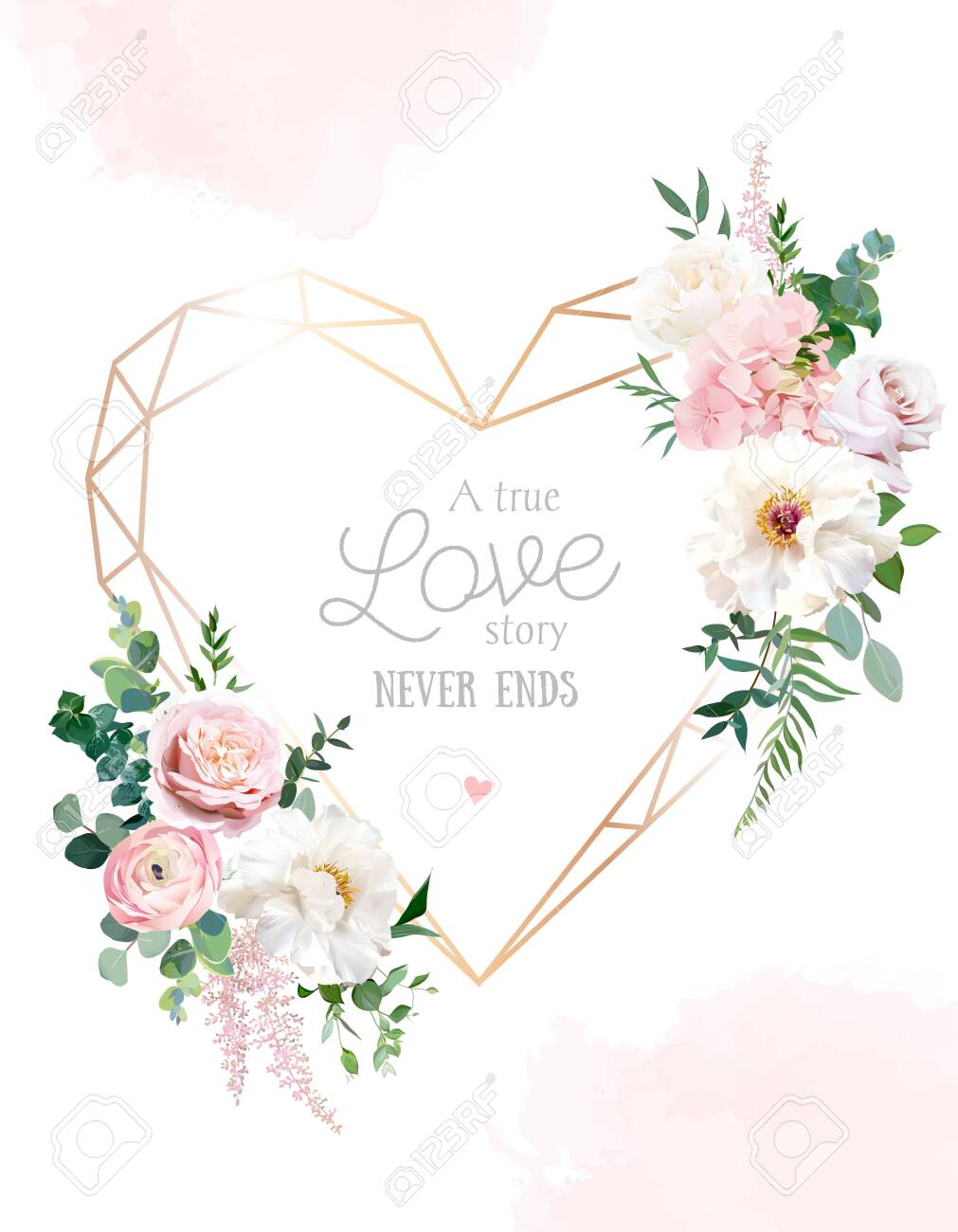 Flower geometric heart line art vector design frame - 153499758