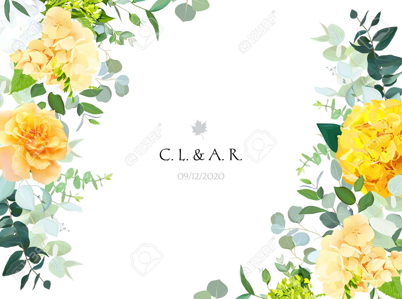 Yellow hydrangea, mustard rose, peony, white iris, orchid, spring garden flowers - 159337754