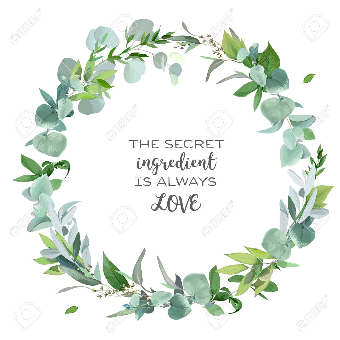 Greenery selection vector design round invitation frame. - 166092080