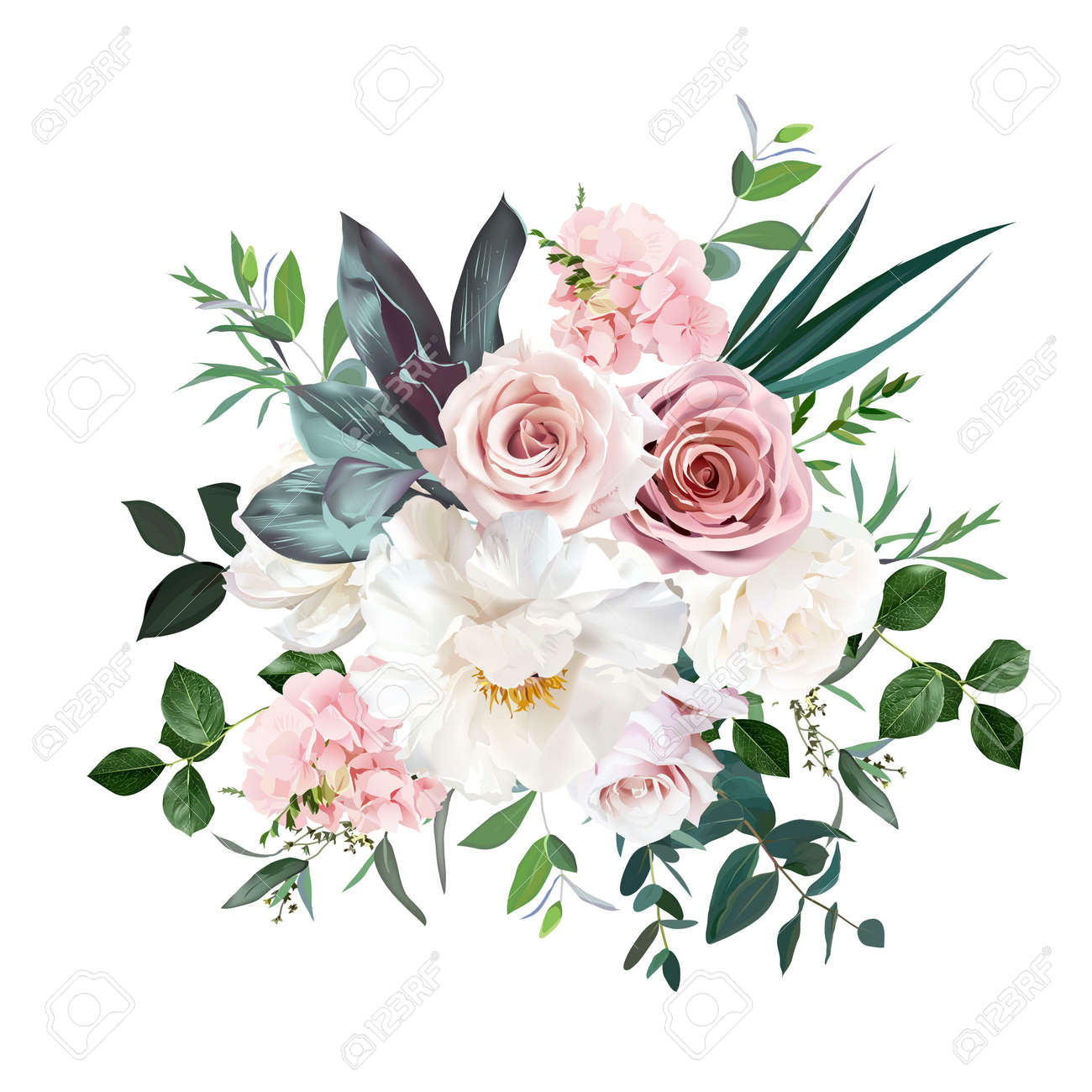 Dusty pink and cream rose, peony, hydrangea flower, tropical leaves vector design wedding bouquet - 168760776