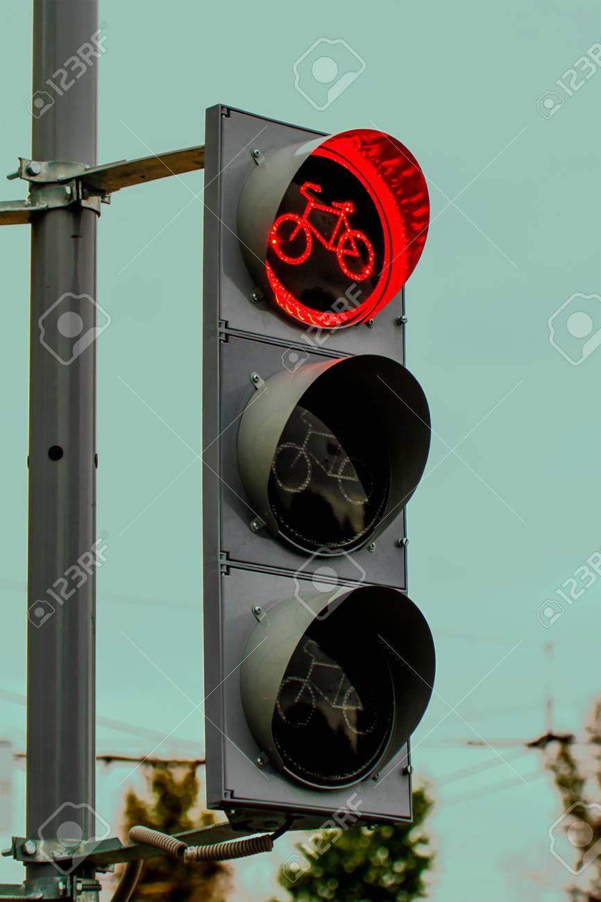 Eine Rote Fahrrad Ampel Lizenzfreie Fotos Bilder Und Stock