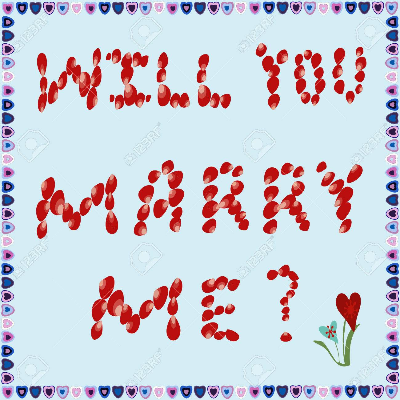 Text Will You Marry Me Of Rose Petals On A Blue Background Frame