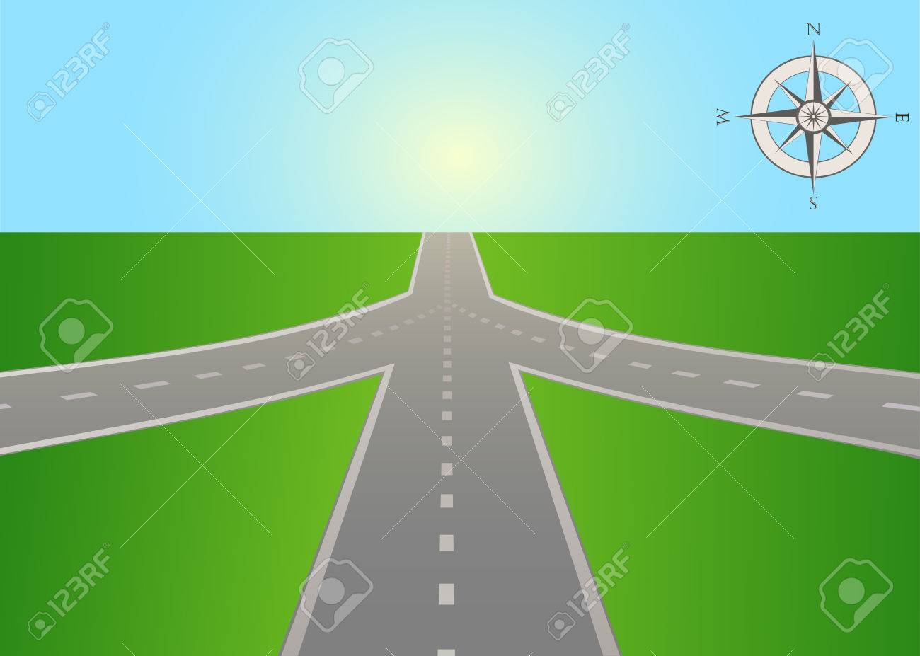 The illustration of road junction on the highway with a compass. Vector is perfect to illustrate the travels, adventures, logistics, navigation, the choice places in life, etc. Horizontal location. - 69005817