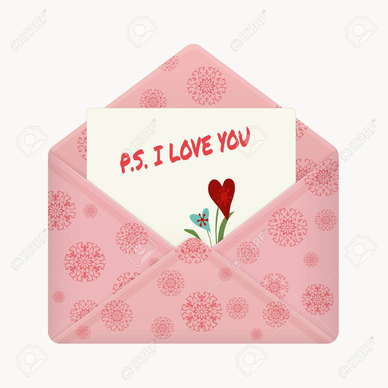 Letter In Open Colorful Envelope Postcard With A Message PS