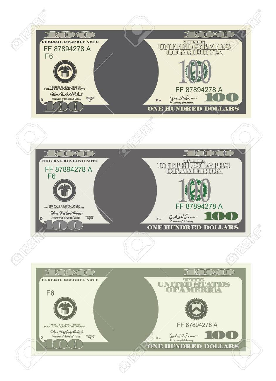 Design Template 100 Dollars Banknote. Bill One Hundred Dollars ...