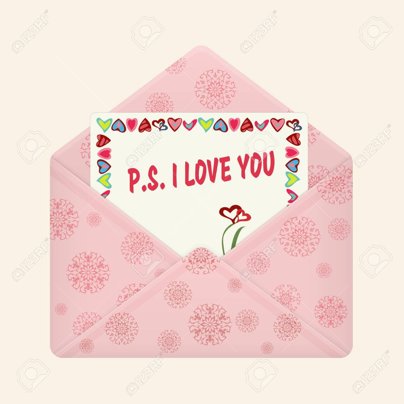 Letter In Open Colorful Envelope Postcard With A Message P S