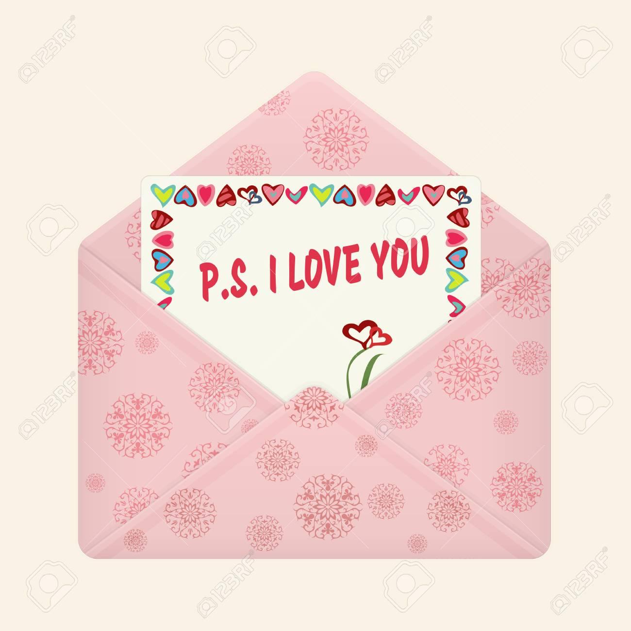 Lettre Dans Une Enveloppe Colorée Ouverte Carte Postale Avec Un Message Ps Je Taime Lettre De Valentine Icône Plate Déclaration Damour