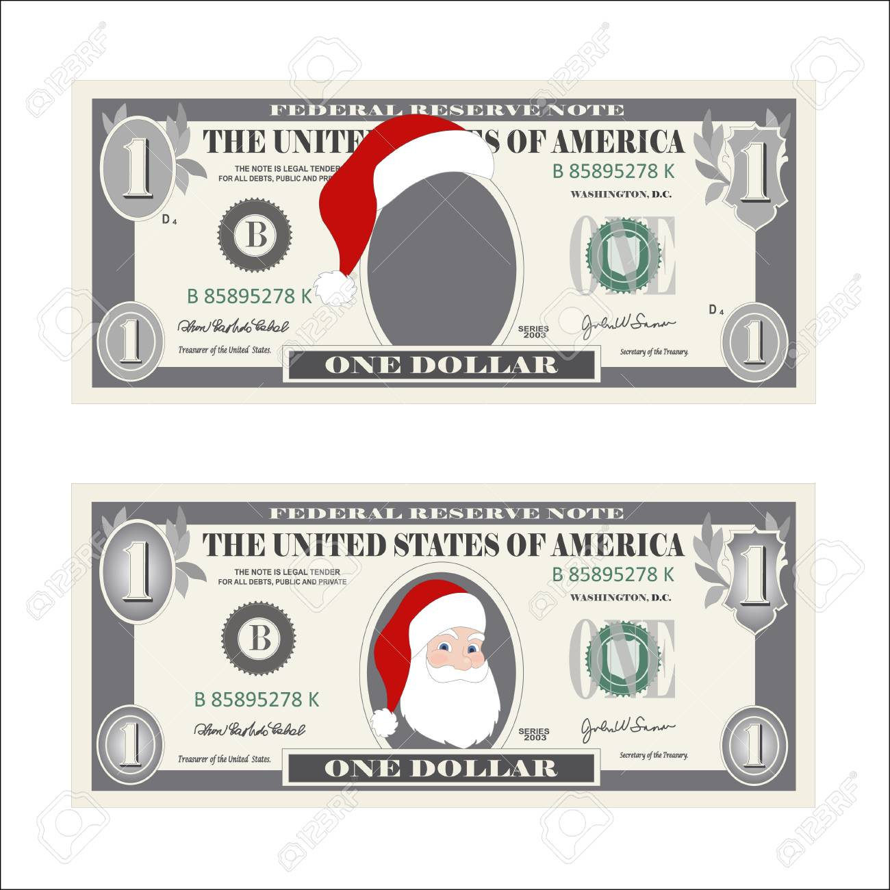 Design Template 1 Dollar Banknote With Santa Claus One Bill For Christmas Sales