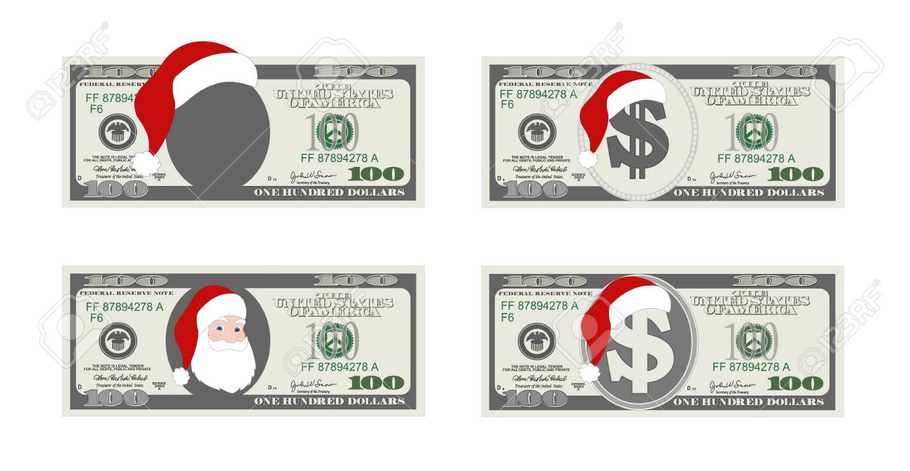 Design Template 100 Dollars Banknote With Santa Claus. One Hundred ...