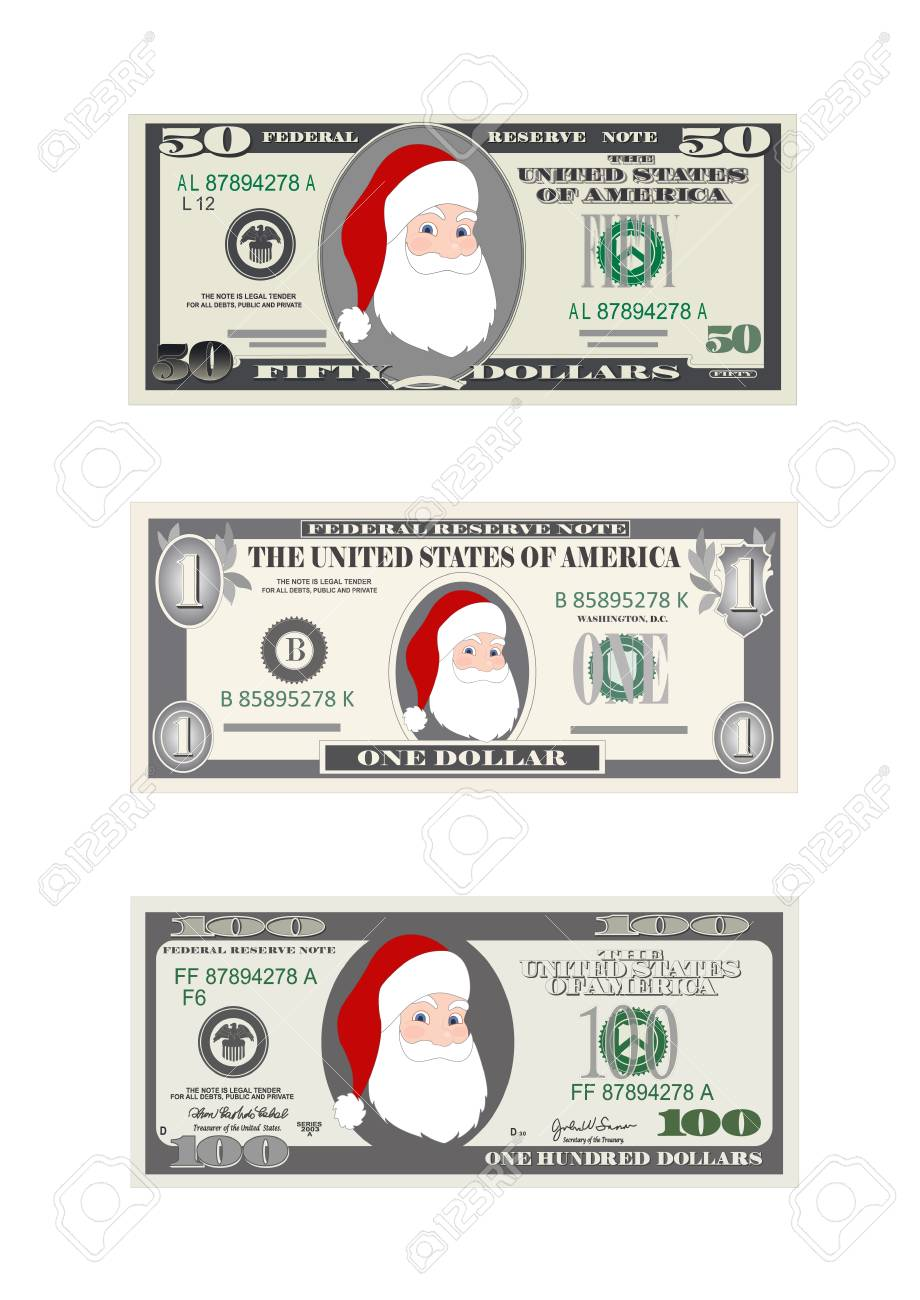 Design template dollars bill with Santa Claus  Christmas set
