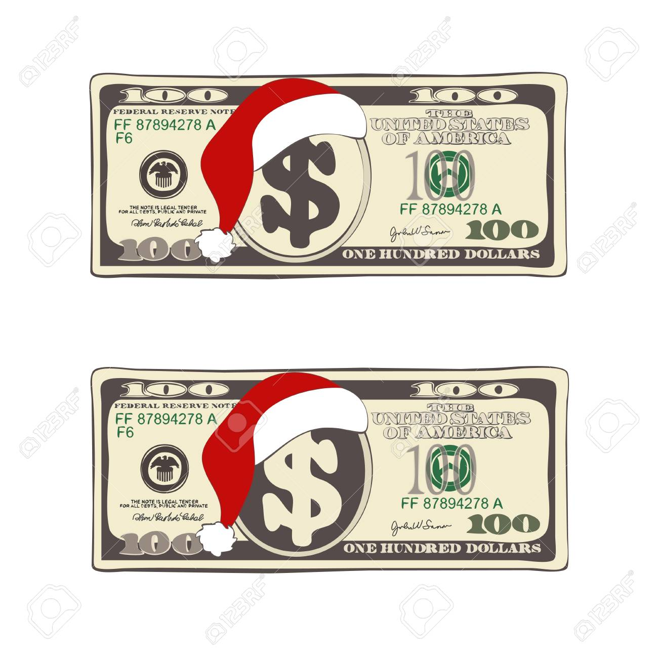 Design Of 100 Dollars With Santa Claus Hat Set Of Christmas