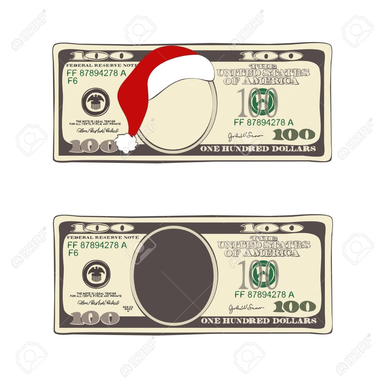 Design of 100 dollars with Santa Claus hat. - 140706597