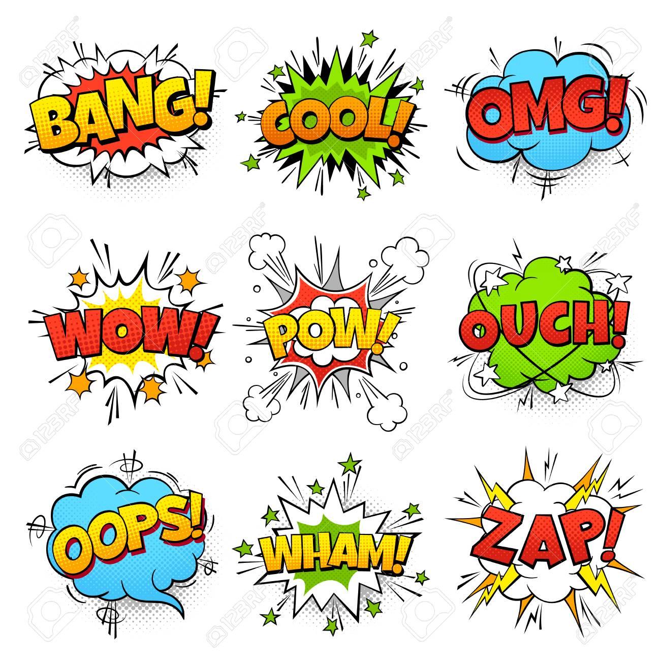 Comic Words. Cartoon Speech Bubble With Zap Pow Wtf Boom Text ...