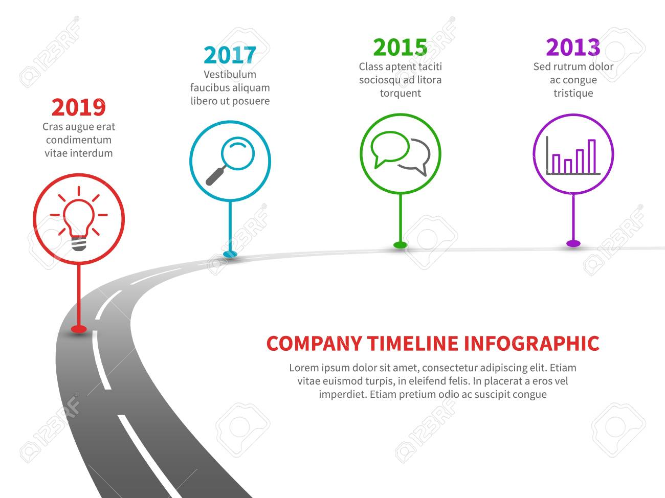 Timeline road infographic. Strategy process to success roadmap with history milestones. Business company planning vector template - 116391500