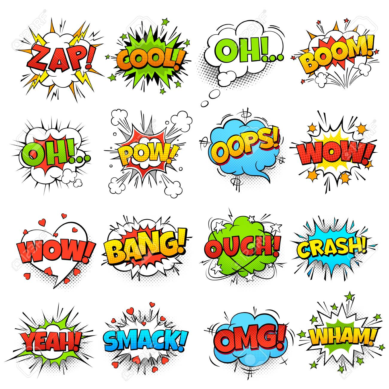 Comic words  cartoon boom crash speech bubble funny elements