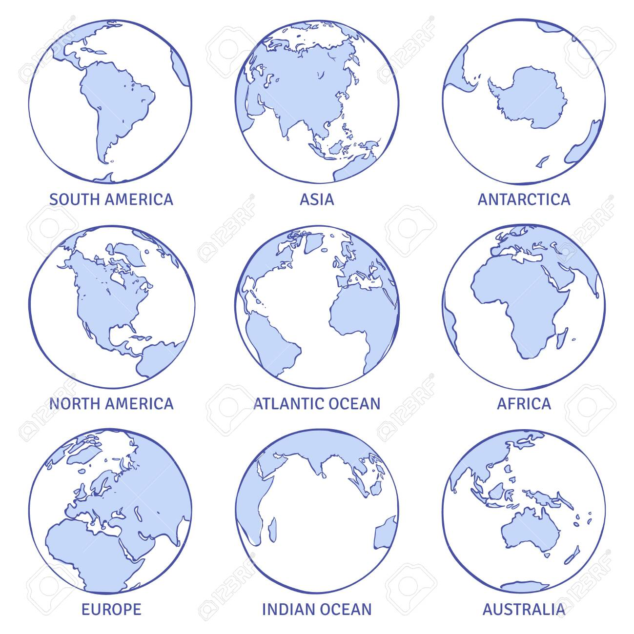 Sketch earth. Map world hand drawn globe, earth circle concept continents contour planet oceans land doodle collection - 121811054