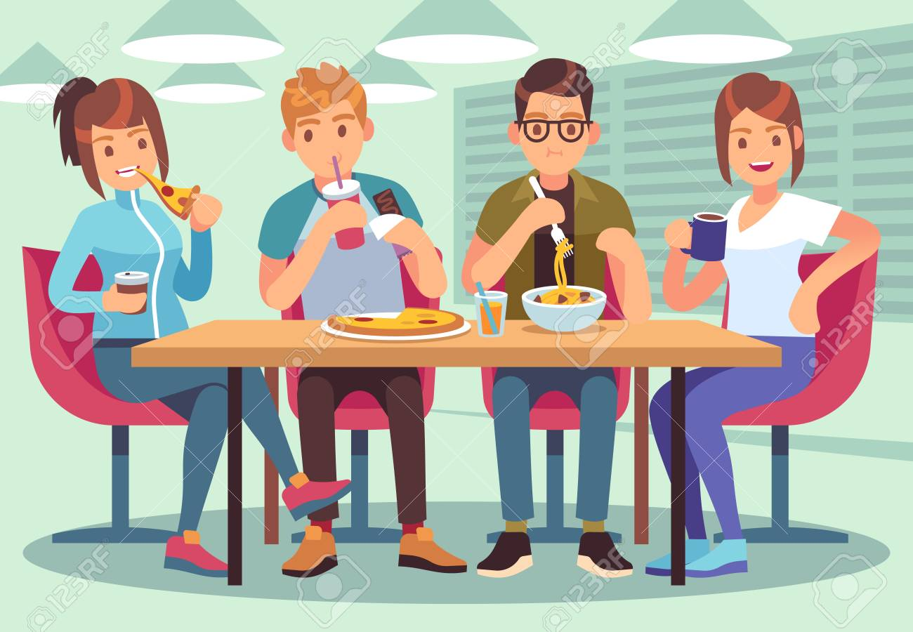 Friends cafe. Friendly people eat drink lunch table fun seating friendship young guys meeting restaurant bar flat vector illustration - 117938522