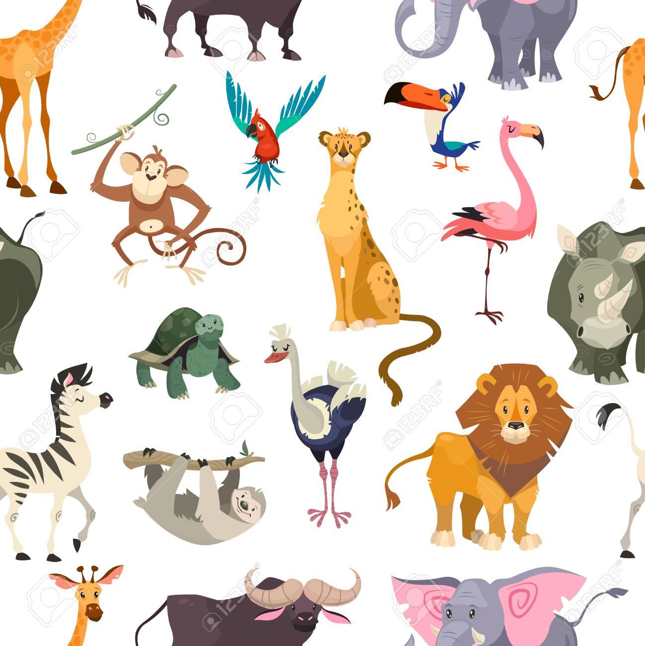 - Wild Animals Seamless Pattern. African Safari Print Jungle Zoo