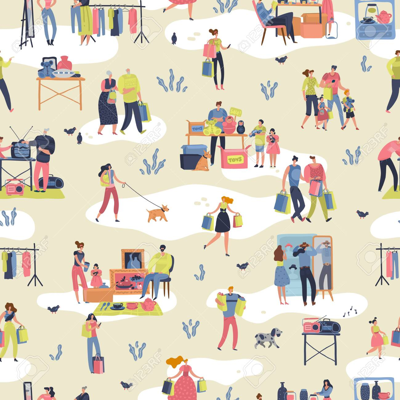Flea market. People shopping second hand stylish goods clothes swap meet bazaar texture. Fleas market vector retro seamless pattern - 124405373