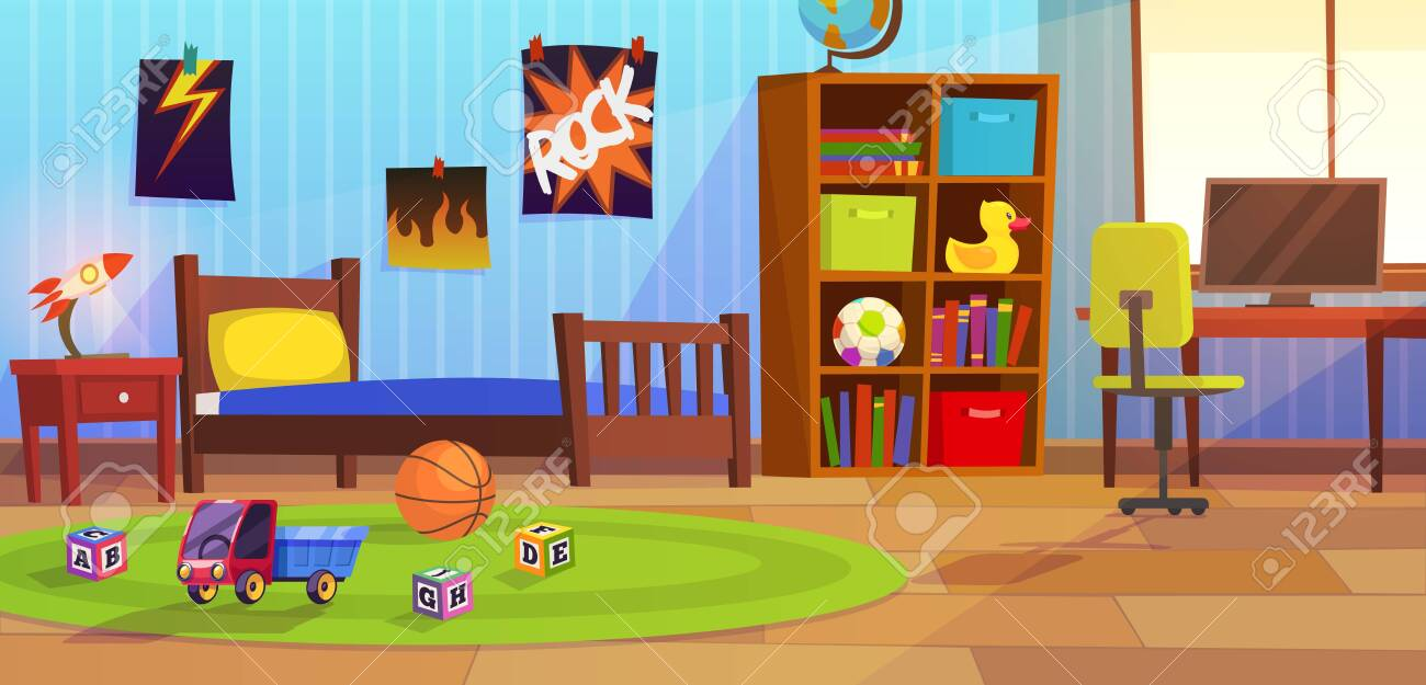 Image of: Room Boy Childrens Interior Bedroom Kid Child Boy Teenagers Royalty Free Cliparts Vectors And Stock Illustration Image 133636785