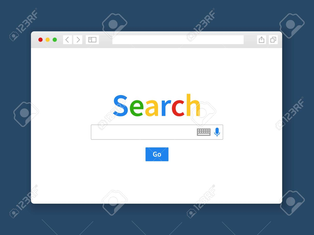 Internet search window. Browser search engine computer screen shape row web page engine blank tab website, flat vector illustration - 133637694