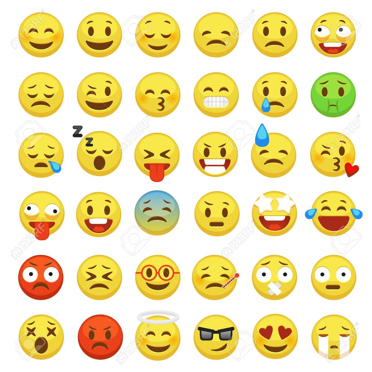 Emoji set. Emoticon face smiley character facial yellow sign message people man emotion feelings chat happy and sad emojis cartoon vector icons - 123300321