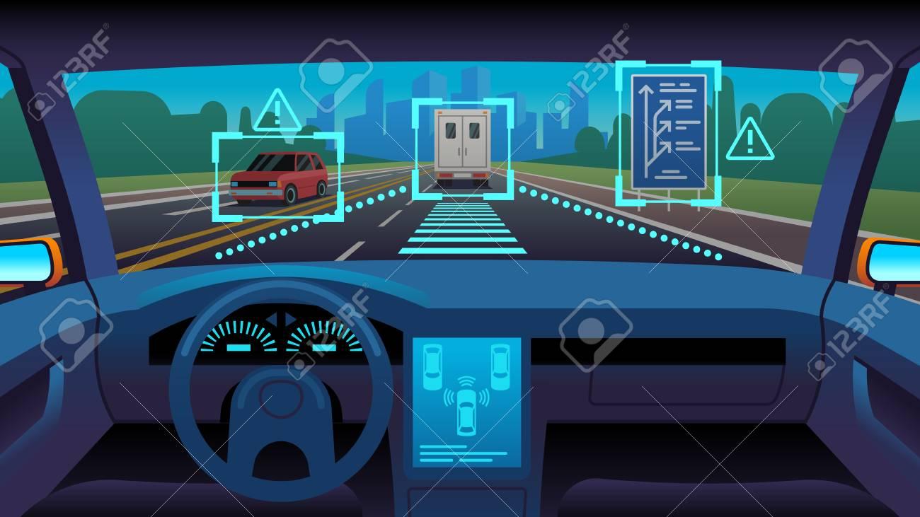 Future autonomous vehicle. Driverless car interior futuristic autonomous autopilot sensor system gps road, cartoon vector unmanned transport concept - 123300324