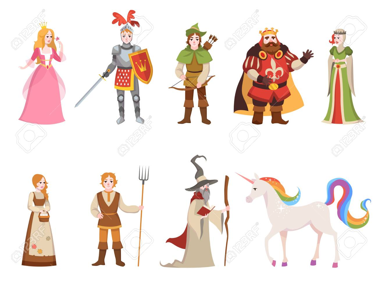 Medieval historical characters. Knight king queen prince princess fairy royal castle dragon horse witch set cartoon, fantasy vector collection - 124983479