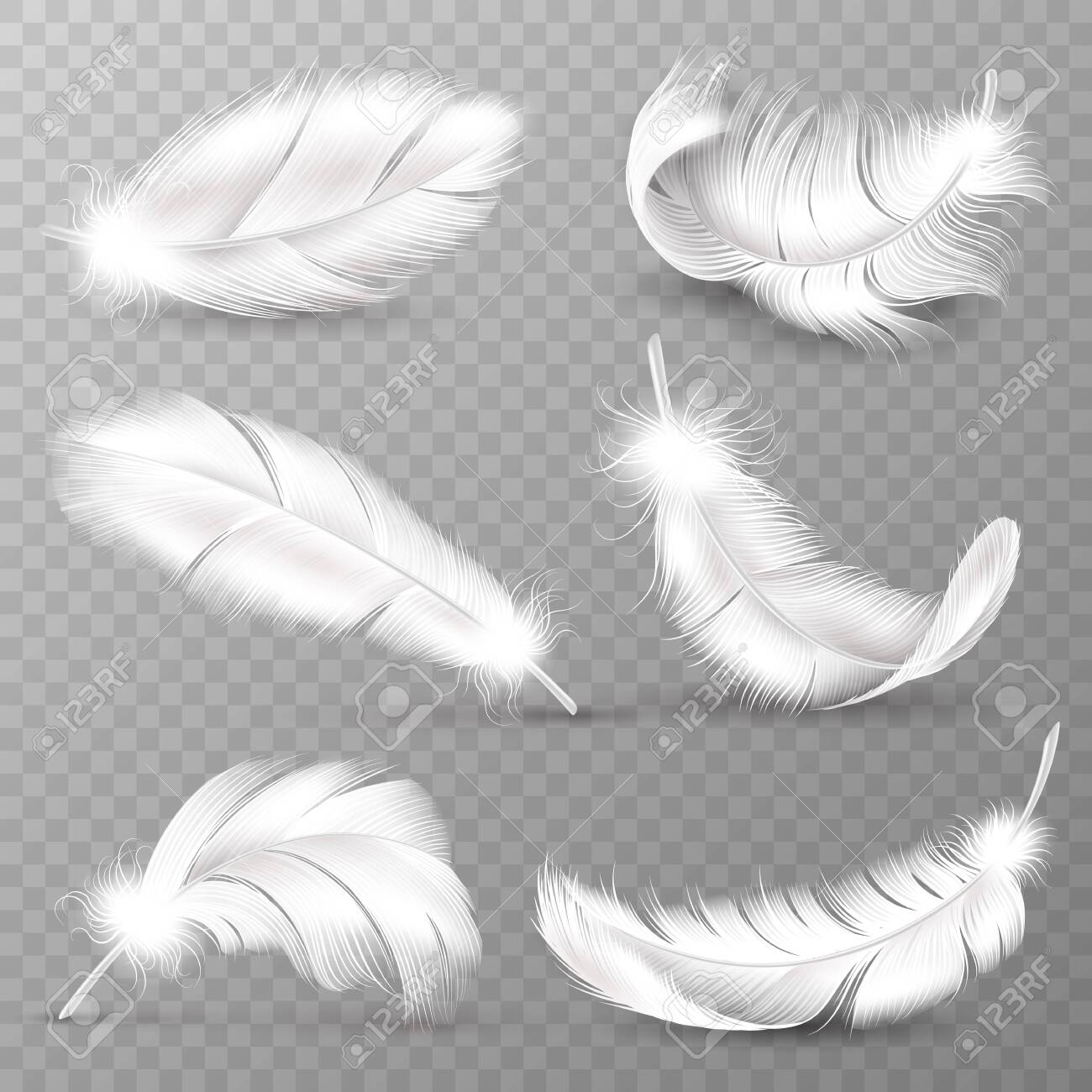 Realistic white feathers. Birds plumage, falling fluffy twirled feather, flying angel wings feathers. Realistic isolated vector easy transparent goose animal plume logo set - 130071686