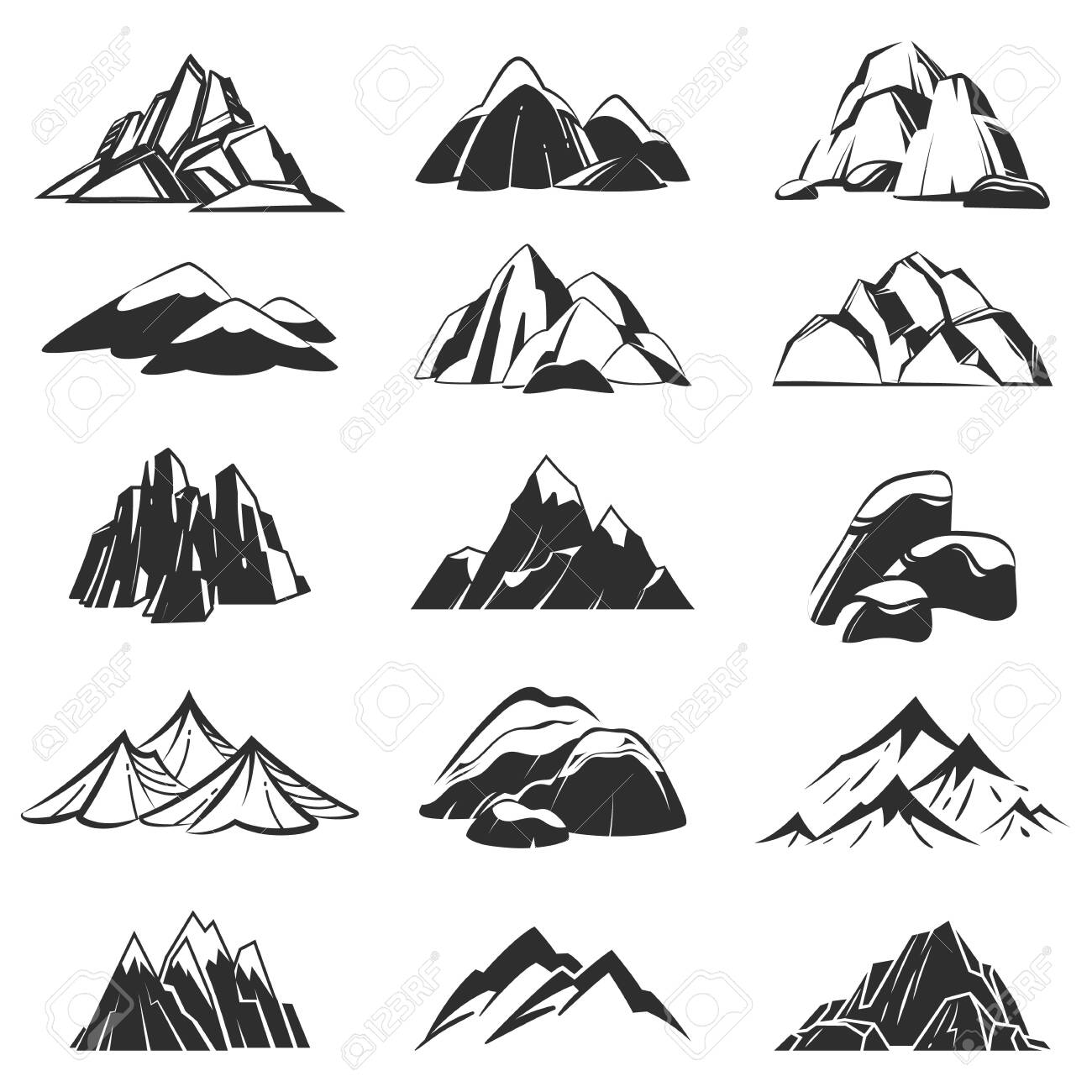 Mountain symbols. Silhouette mountains with range snow labels, abstract alpen hills. Hiking, exploring and camping emblems vector peak rock top set for expedition adventure - 129993149