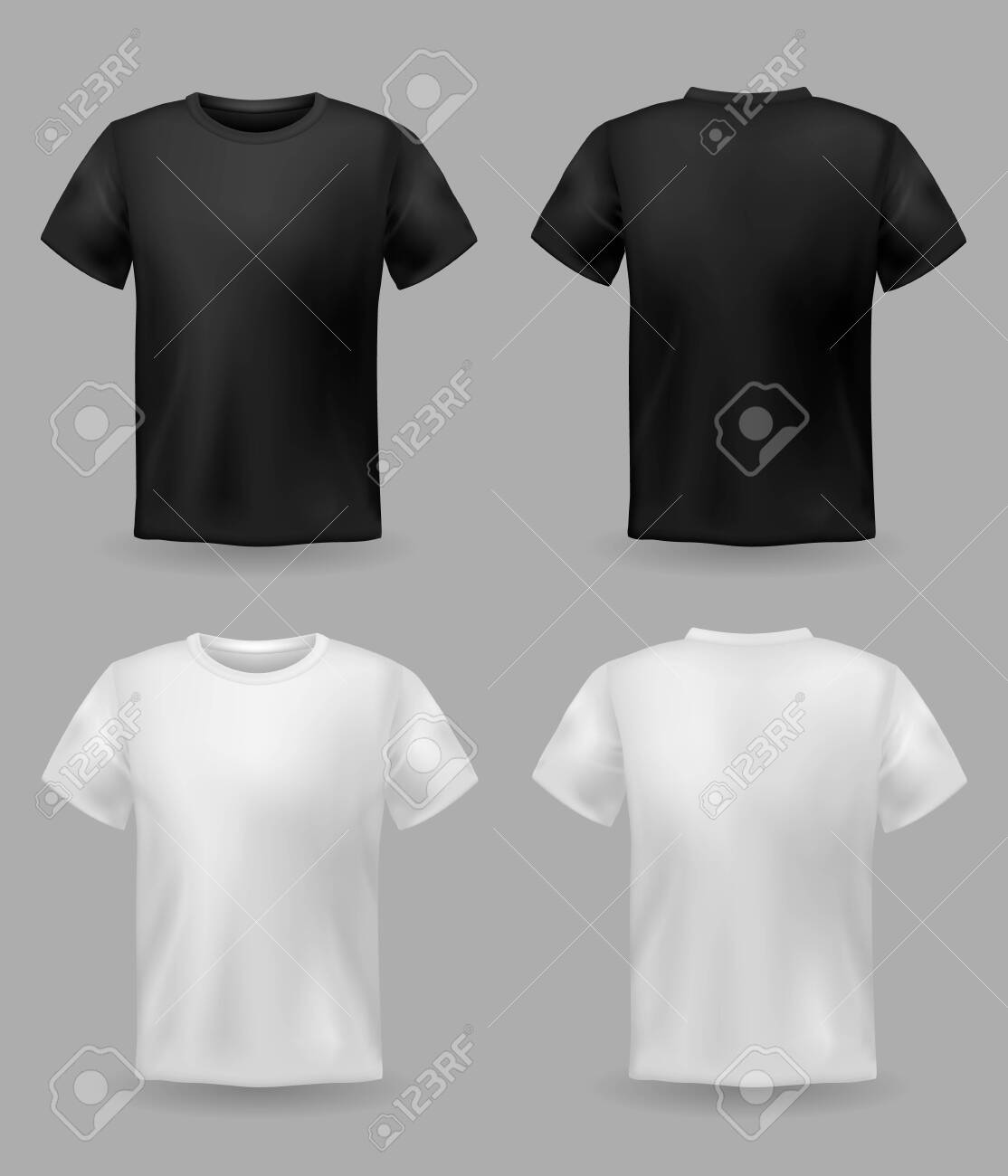 White and black t-shirt mockup. Sport blank shirt template front and back view, men and women clothes for fashion clothing realistic uniform for advertising textile print vector set - 129993043
