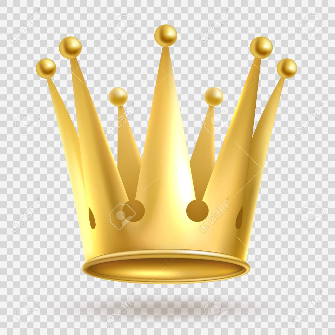 Golden crown. Elegant gold metal royal crowning on transparent background vector realistic wealth imperial jewelry royalty illustration - 131296029