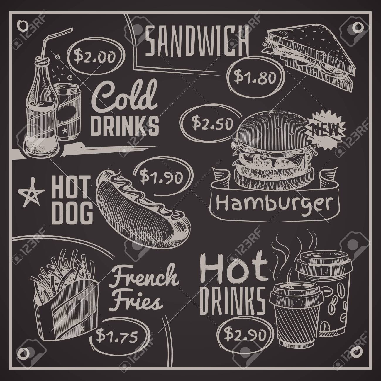 Fast food menu. Coffee, burger and hotdog, donut and fries, ice cream and cola, sandwich. Chalk drawing restaurant vector writing chalkboard typography design illustration - 131457910