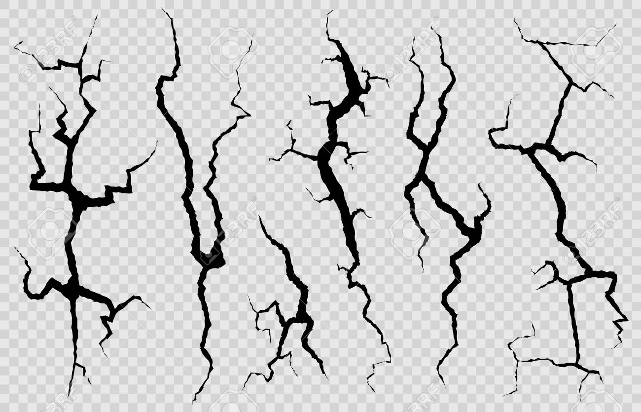Wall cracks. Surface fracture structure, cleft broken dry lining wall or destroyed cracked glass, earthquake destruction vector cracking isolated abstract set - 134952558