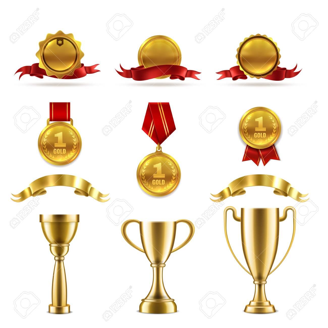 Sport or game trophy set. Gold reward badges and award cups for achievement of best success winner vector rating number medal image - 135593924