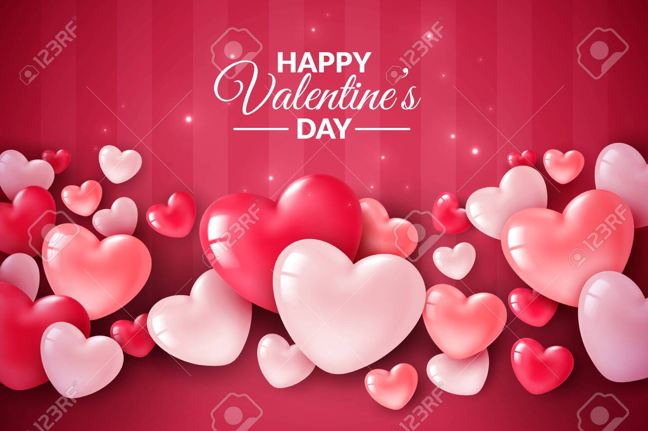 Valentines day 3d hearts. Cute love banner, romantic greeting card happy valentines day wishes text, red heart balloons for party vector romance concept - 136129213