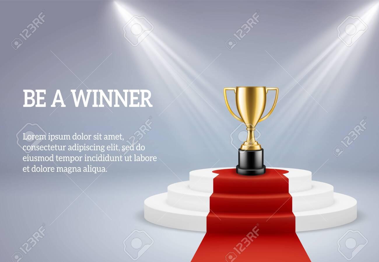 Award podium with trophy. Rewarding round stage for winner of sport or business compitetion in spotlight on platform vector 3d image - 136482073