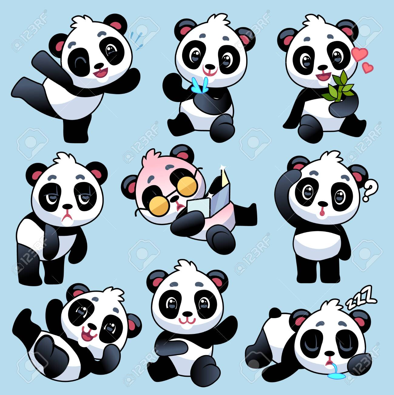 Panda. Cute asian bears in different poses, eating bamboo stem and sleeping, playing in zoo or jungle, funny young animals cartoon vector baby characters - 139760555