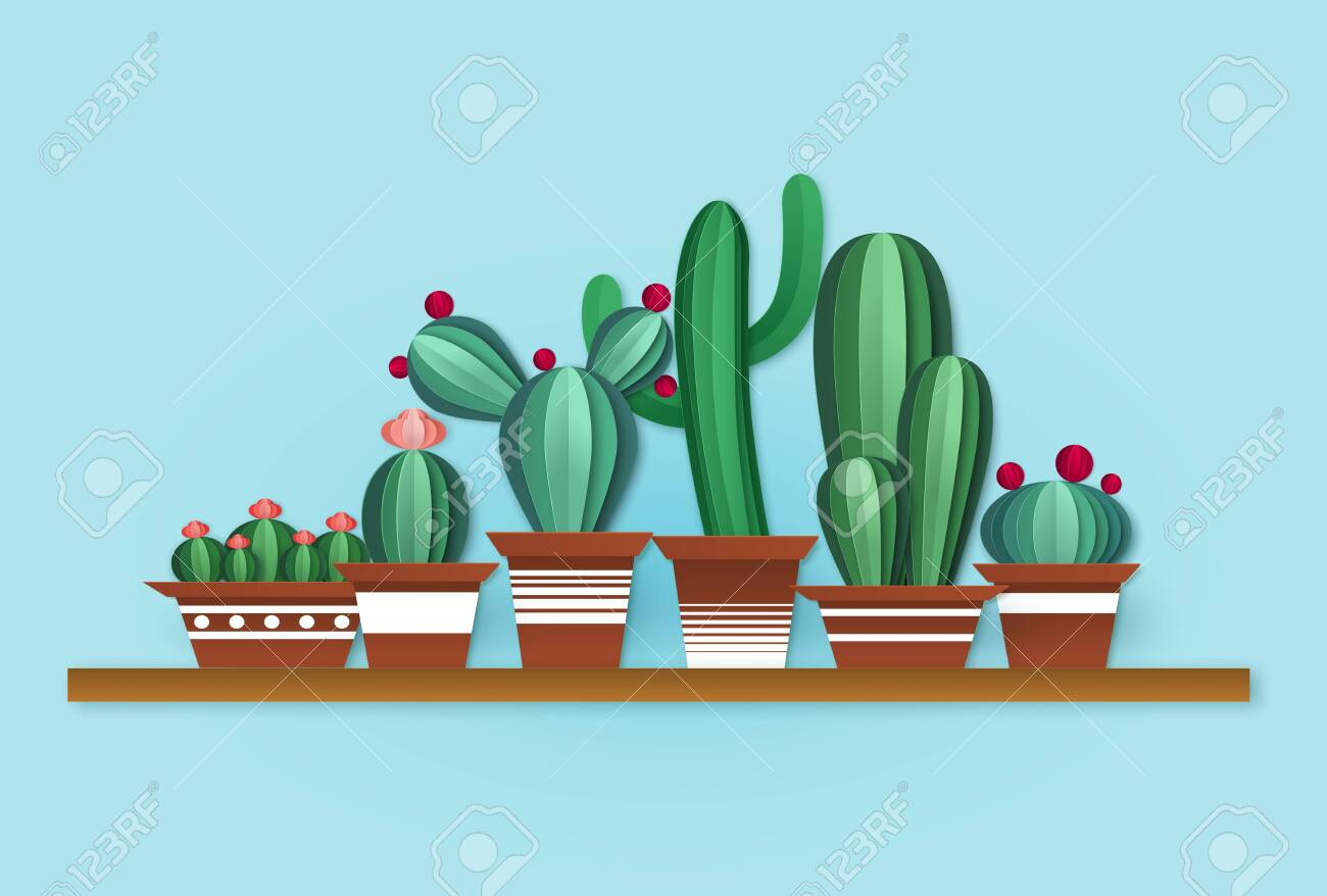 Paper Cactus Cute Cacti With Flowers In Pots On Shelf In Origami Royalty Free Cliparts Vectors And Stock Illustration Image 139760634
