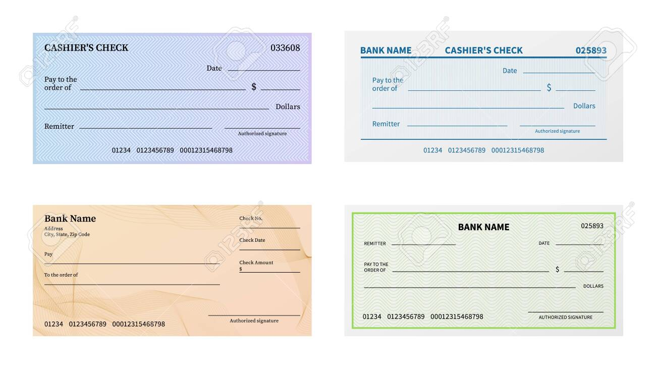 Check template. Blank bank cheque with guilloche pattern and watermark for banknote. Voucher or certificate, coupon or ticket paper blankcheck mockup vector set - 140397610