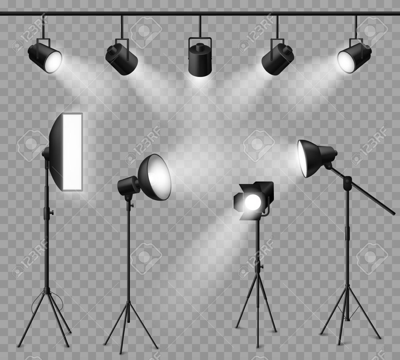 Realistic spotlight. Illuminated photo studio and stage light, floodlights and softbox set for vivid show, concert light effects. Vector projector and lamp set - 141378151