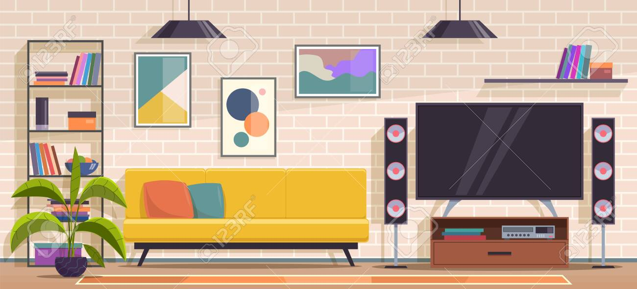 Living Room Modern Apartment Minimal Interior With Furniture Royalty Free Cliparts Vectors And Stock Illustration Image 142629660