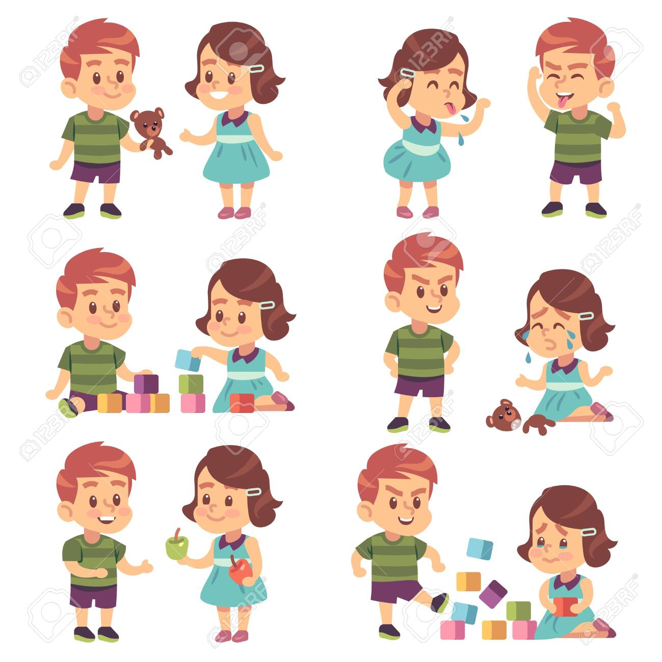 Good and bad behavior. Naughty and obedient kids, angry, aggressive bully and funny, polite manners children, cartoon vector brother and sister or best friend characters - 142629762