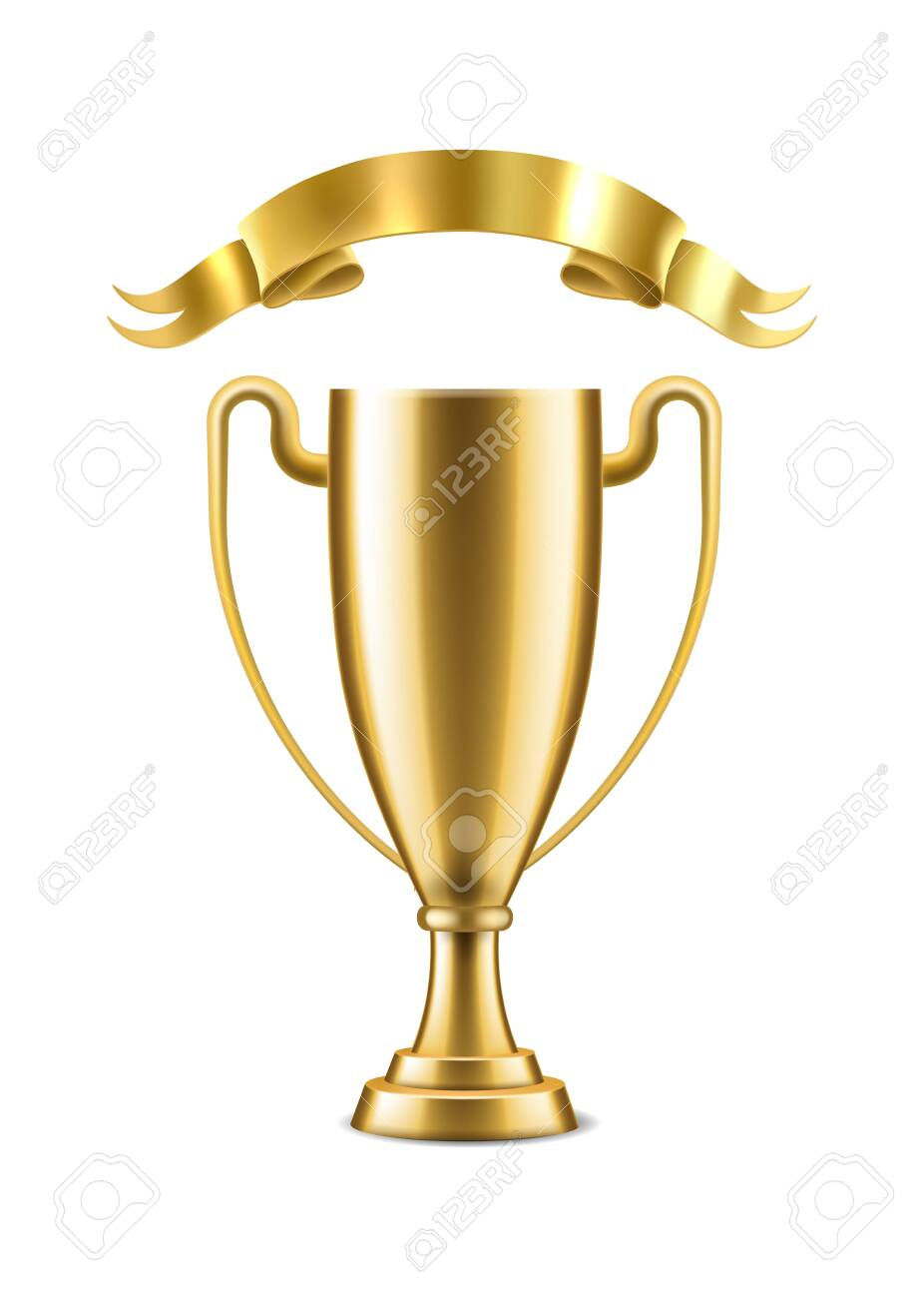 Champion gold cup. Winner golden cup trophy isolated on white background vector realistic victory award - 142629789