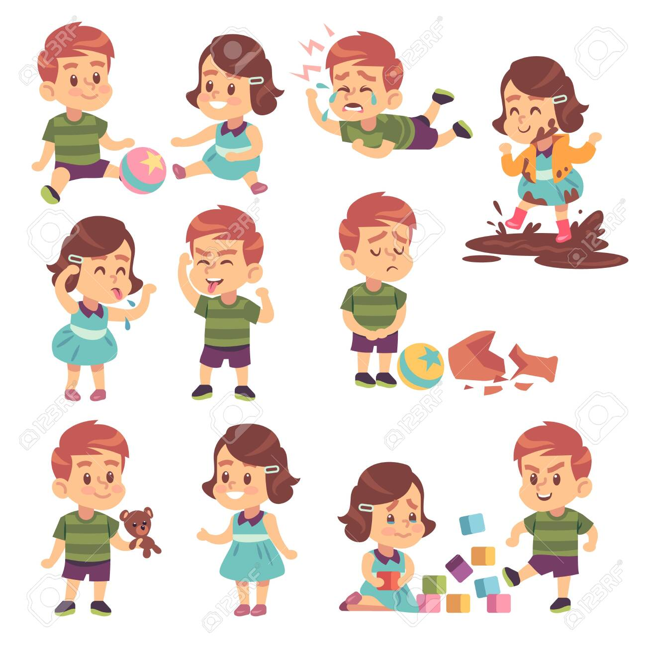 Good and bad kids. Playing peacefully and fighting, naughty and obedient children, conflict and funny boys and girls isolated cartoon vector child characters - 143461062